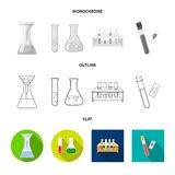 Vector design of flask and laboratory symbol. Set of flask and equipment stock vector illustration. Vector illustration of flask and laboratory sign. Collection vector illustration