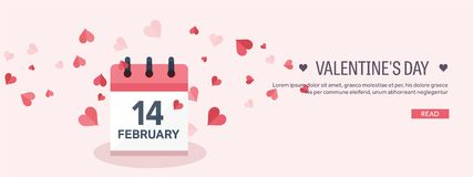 Vector illustration. Flat background with calendar. Love and hearts. Valentines day. Be my valentine. 14 february. Vector illustration. Flat background with vector illustration