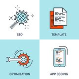 Vector illustration. Flat background. Coding, programming. SEO. Search engine optimization. App development, creation stock illustration
