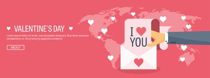 Vector illustration. Flat background with envelope. Love and hearts. Valentines day. Be my valentine. 14 february. Message royalty free illustration