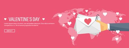 Vector illustration. Flat background with envelope. Love and hearts. Valentines day. Be my valentine. 14 february. Message stock illustration