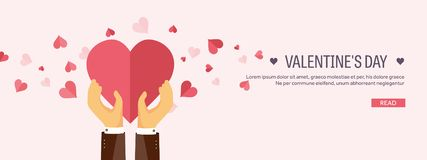 Vector illustration. Flat background with hand and heart. Love and hearts. Valentines day. Be my valentine. 14 february. Message royalty free illustration