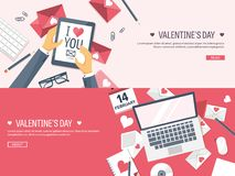 Vector illustration. Flat background with tablet, laptop. Love and hearts. Valentines day. Be my valentine. 14 february. Message royalty free illustration