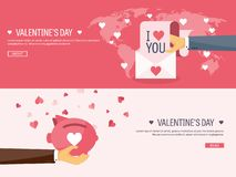 Vector Illustration. Flat Background With Envelope And Piggy Bank. Love And Hearts. Valentines Day. Be My Valentine. 14 Stock Images