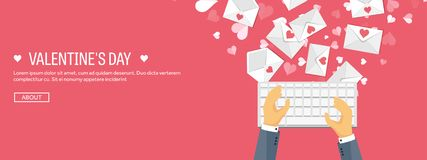 Vector Illustration. Flat Background With Keyboard And Envelope. Love And Hearts. Valentines Day. Be My Valentine. 14 Stock Photography