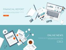 Vector illustration. Flat backgrounds set. Online news. Newsletter information. Business market news. Financial report.