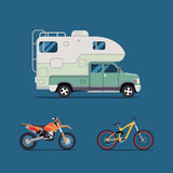 Vector illustration flat. the best banner  for the travel agency and camping, outdoor activities, sports and outdoor recreation. C Stock Images