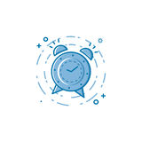 Vector illustration of flat bold line alarm clock icon. Stock Photos