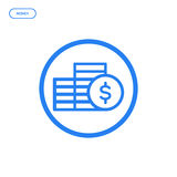 Vector illustration of flat bold line coins icon. Graphic design concept of money. Use in Web Project and Applications. Blue outline isolated object Stock Photography