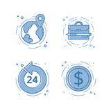Vector illustration of flat bold line icon. Concept of open 24 7. Vector illustration set of flat bold line icons with open 27 7, internet earn, portfolio, map Royalty Free Stock Images
