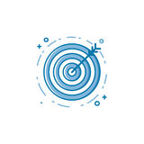 Vector illustration of flat bold line target goal or aim icon. Graphic design concept of successful shoot. Use in Web Project and Applications. Blue outline Stock Photos