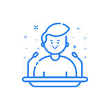 Vector illustration in flat bold linear style with boy and blue icons. Royalty Free Stock Photo