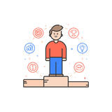 Vector illustration in flat bold linear style with boy and color icons. Royalty Free Stock Photo