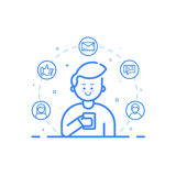 Vector illustration in flat bold linear style. Boy holding mobile phone with smile on his face. Royalty Free Stock Image