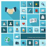 Vector illustration of flat color icons with long shadow for Communication, business. vector illustration