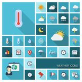 Vector illustration of flat color icons with long shadow for meteo and weather Royalty Free Stock Images