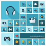 Vector illustration of flat color icons with long shadow for multimedia and technology Royalty Free Stock Photos