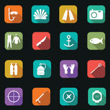 Vector illustration of flat color spearfishing icons with long s Royalty Free Stock Photography