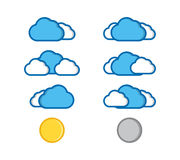 Vector illustration of flat color weather icons Royalty Free Stock Photos