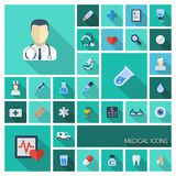 Vector illustration of flat colored icons with long shadows. Abstract medicine background with medical, health Royalty Free Stock Image