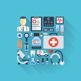 Vector illustration of flat colored icons with long shadows. Abstract medicine background with medical, health Stock Image