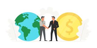 Businessmen make a contract before the big coin and world. Save planet, success, champion, victory, money. Startup stock illustration