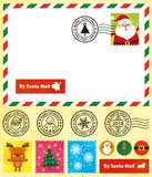 Christmas postcard,cute stamps,postmark. royalty free illustration