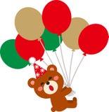 Cute Christmas bear and frying baloon. vector illustration