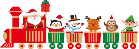 Cute Christmas character on a toy train. royalty free illustration