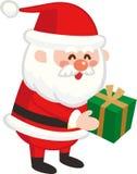 Cute Santa Claus giving gifts. vector illustration