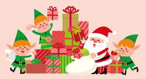 Santa claus and funny elves with christmas present box. royalty free illustration
