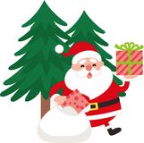 Santa Claus to take out a gift from a bag. royalty free illustration