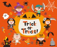 Set of halloween sign, symbol, objects, items and cute cartoon children. stock illustration