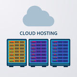 Vector illustration of a flat design of cloud hosting Royalty Free Stock Image