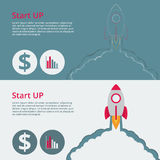 Vector illustration of a flat design start up . Rocket with smok Stock Photos