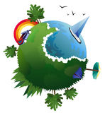 Vector illustration of flat design travel composition with green planet.   Royalty Free Stock Photo
