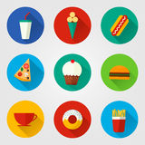Vector illustration of flat fast food icons. Set of icons with food and drinks for menu, cafe and restaurant. Colorful and long shadow. Elements for web design Stock Photo