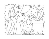 Vector illustration with a flat girl taking care of plants. Stock Images