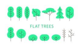 Vector illustration, flat green trees set. royalty free illustration