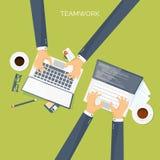 Vector illustration. Flat header. Teamwork. Smart solutions. Programming coding and web design. stock illustration