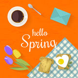Vector illustration with flat icons food. Springtime concept. Fresh food and flowers on kitchen table in flat style. Top view vector illustration