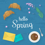 Vector illustration with flat icons food. Springtime concept. Stock Image