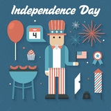 Vector illustration: Flat Icons Set of Independence Day. On blue background Stock Photography