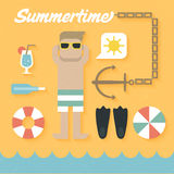 Vector illustration: Flat Icons Set of Summer Holiday Royalty Free Stock Photography