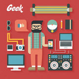 Vector illustration: Flat Icons Set of Trendy Geek Items. On red background Royalty Free Stock Image