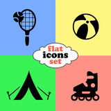 Vector illustration of flat icons. Weekend and travel. Vector illustration of flat icons. Weekend, sport and travel Royalty Free Stock Photos