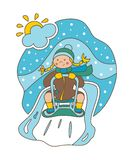 Vector illustration. Flat illustration. Girl rolling on a sledge from a hill. Winter royalty free illustration