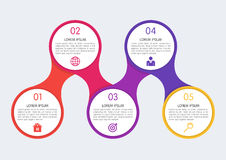 Vector illustration of a flat infographics timeline of five opti Royalty Free Stock Photos