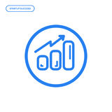 Vector illustration of flat line chart icon. Graphic design concept of startup success. Use in Web Project and Applications. Blue outline isolated object Stock Photo