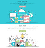 Vector illustration flat line design style of digital marketing and social media. Stock Images